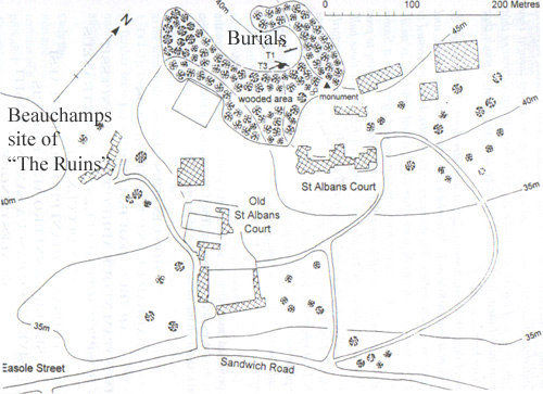 Dover Arch. Group map showing the burial site and reburial monument