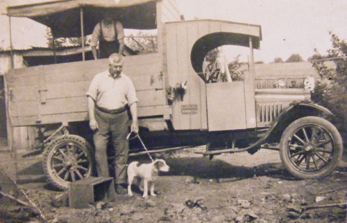 Mr. Fred Garlinge with his first lorry at The Haven, late 1930's. He served as a Captain in the Home Guard during WW2.